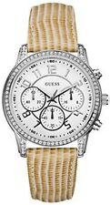 New Authentic Guess Women's U13602L2 Gold Leather strap Quartz White Dial Watch