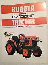KUBOTA 4WD Diesel Compact Tractor B7100DP Original 1983 Sales Brochure