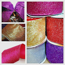 1m WIRED 63mm FLORIST RIBBON SILVER ROSE GOLD RED PURPLE PINK GLITTER CHRISTMAS