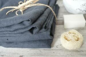 Durable Thick 100 % Linen bath sheet, body towels Set of 2 Charcoal grey FLAX