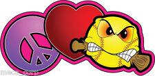 Love-Peace-Softball biting bat fastpitch helmet decal
