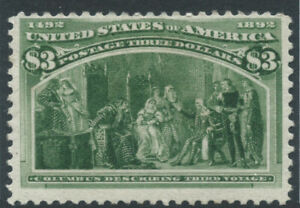 USA 1893 SG248a $3 olive-green - Columbian Exposition - mounted mint. Cat £1800