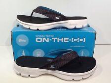 SKECHERS Women's Go Walk Pizazz Size 8 Black White Sporty Casual Sandals X1-1516