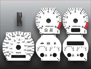 1998-1999 Mazda 626 Metric KPH KMH Dash Cluster White Face Gauges 98-99