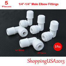 "5 Pcs 1/4""-1/4"" Male Elbow Fitting Connector Connection Water Filters/RO system"