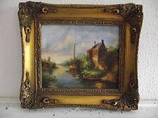 tableau ancien huile sur panneau signée H WOOD (XIX-XXe-s) village bord riviére
