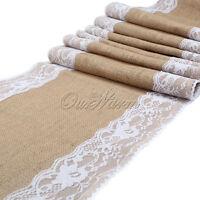 Long Vintage Burlap Hessian Lace Table Runner Flower Wedding Banquet Party Decor