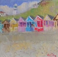 Southwold-oil On Canvas-original Painting-beach huts-suffolk-