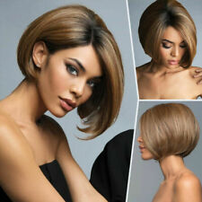 Women Short Straight Wigs Omrbe Brown Fashion Full Wig Bob Natural Party Cosplay