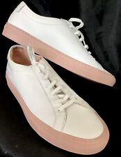 Woman By Common Projects White  Leather Pink  Sole Lace Up Sneakers Size 39