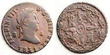 Fernando VII 4 Maravedis 1831. Ségovie MBC/VF. Cuivre 5,2 g. Rare