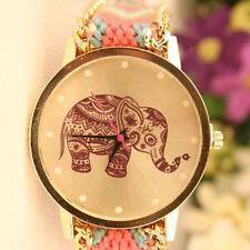 Nuevo Reloj Girl Hecho a Mano Pulsera Cuadrante Cuarzo entrelazados Trenzado Elefante Rosa
