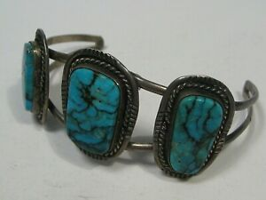 """Old Pawn Sterling Silver & Turquoise Cuff Bracelet 22.7g Fits 6½"""" Been Bent. #44"""