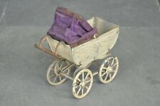 Early Vintage Fine Handpainted Unique Small/Penny Baby Pram Tin Toy , Germany