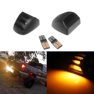 Smoked License Plate Lamps w/Amber LED Bulbs For Chevrolet Silverado 1500 2500