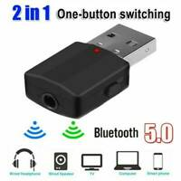 Bluetooth 5.0 Audio Receiver Transmitter Stereo AUX USB 3.5mm Jack Fit TV/PC Car