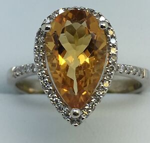 9ct White Gold .40ct Diamond And Citrine Pearshape Cluster Ring