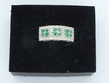 Vintage 18ct white gold Emerald and Diamond ring. Size O 1/2.
