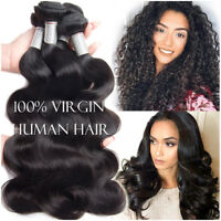 100% Remy Human Hair Extensions 3 Bundles With Lace Closure Black Weft Body Wave