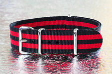 20mm [Black/Red] Stripe Nylon Military G10 Watch Band Strap for Timex Weekender