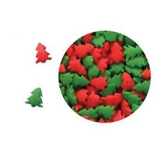 Edible Confetti Sprinkles Cookie Cake Cupcake Christmas RED AND GREEN TREES 4 oz