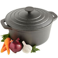 VonShef Black Pre-Seasoned Cast Iron Casserole Dish 4.7L - 25cm