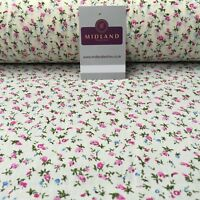 """Cream Floral printed Polycotton Dress Fabric 44"""" wide ME882 Mtex"""