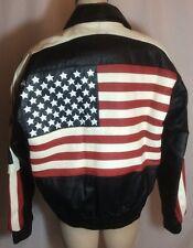 NWOT USA American Flag Stars Patriotic Leather Bomber Jacket Unisex Size Medium