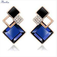 Classic Vintage Fashion Jewelry Blue Big Crystal Stud Earrings Women Girls