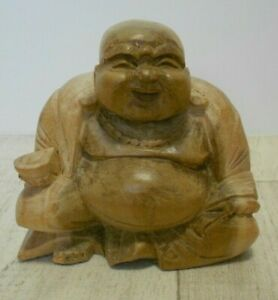 CARVED WOODEN SMILING BUDDHA FIGURE BUDDHISM RELIGION SPIRITUAL COLLECTABLE