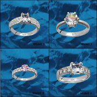 Luxus Ringe Verlobung Solitär Echt 925 Sterling Silber Zirkonia Strass Steine