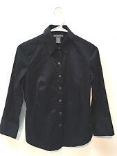 Banana Republic Women Cotton Stretch Long Sleeves Blouse Shirt Black Size XS