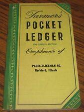 1956-1957 John Deere Farmers Pocket Ledger PAGEL-CLIKEMAN CO ROCKFORD IL 90th Ed