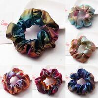 Glitter Bronzing Rainbow Elastic Hair Bands Girls Hair Rope Scrunchie H7