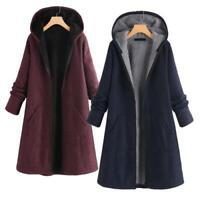 Womens Winter Warm Fleece Lined Hooded Jacket Parka Long Coat Hoodie Outwear L