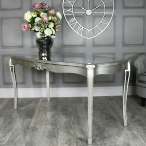 Large Silver Mirrored Dining Table vintage luxurious glamorous kitchen french