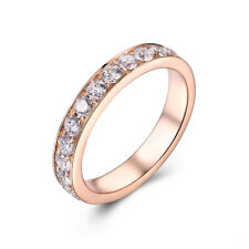 14K Rose Gold Eternal Anniversary Band Round Cut 0.7ct Flawless Moissanites Ring