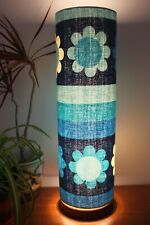 Solid Wooden Lamp with Retro Fabric Lampshade, Original 70s Fabric, Floral, Blue