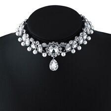 choker rhinestone pearl  luxury pendant party choker dangle vintage necklace