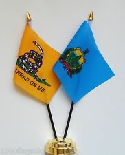 Gadsden & Vermont Double Friendship Table Flag Set