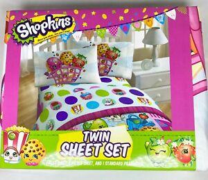 Shopkins Twin Sheet Set 1 Flat Sheet, 1 Fitted Sheet, 1 Standard Pillowcase NWT
