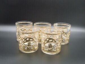 5 Double Old Fashioned Mushrooms Glasses by Culver 22 K Gold MCM