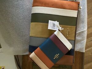 🌺🌹Coach Patchwork Stripes Large Charlie Pouch With Matching Leather Wallet