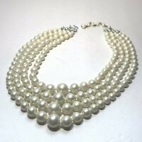 VTG JAPAN 4 Tier WHITE FAUX PEARL NECKLACE Silver Tone KNOTTED Graduated Size