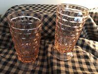 Vintage Indiana Whitehall Pink Depression Cubist Set of 2 Footed Tea Glasses