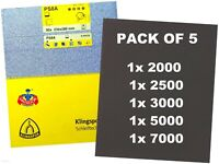 WET AND DRY SANDPAPER MIXED Assorted GRIT 2000 2500 3000 5000 7000 - PACK OF 5