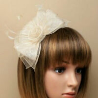 Cream Aliceband Feather Fascinator Ladies Day Ascot Races Wedding Headband 28