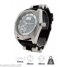 ICE MASTER SILVER TONE WITH CRYSTALS,BLING,OVERSIZE BLACK RUBBER MEN'S WATCH