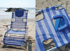 Beachkit Ostrich 3 in1 Aluminium Beach Lounger Chair Concert Camping Blue Stripe
