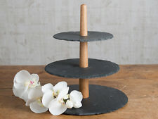Mikasa Cocoon Rustic 3 Tier Slate & Oak Cake Stand